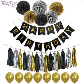 FENGRISE Happy Birthday Banner Tissue Paper Tassel Bunting Garland Pom Poms Birthday Party Decoration Photobooth Party Supplies