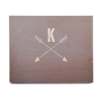 "KESS Original ""Gray Arrow Monogram"" Birchwood Wall Art"