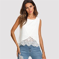 Lace Insert Wrap Top Women Round Neck Wrap Plain Vest Regular Sleeveless Casual Tank