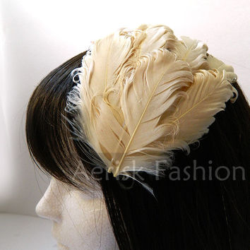 Ivory Feather Wedding Fascinator head piece - Classic White wedding hair piece made of curled feathers - Choose hair clip, comb, or headband