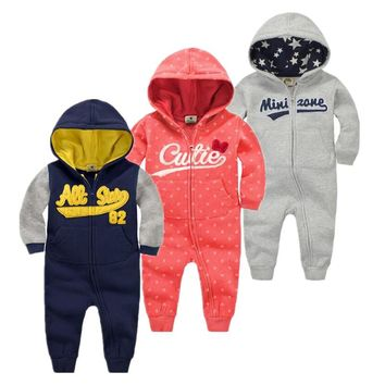 Autumn&Winter Baby Boy Clothes Baby Rompers cotton+ Polyester fiber Newborn Clothing girl boy clothes Hooded Sleepwear