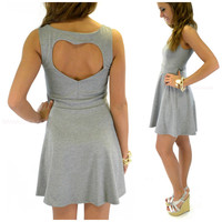 Rosewood Gray Heart Cutout Skater Dress