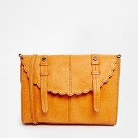 ASOS Leather Scallop Flap Cross Body Bag