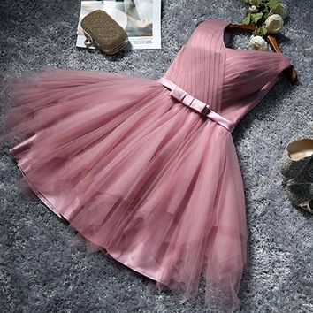 Bridesmaid dress new bean paste color bridesmaids group dress skirt short dress Slim bride evening dress