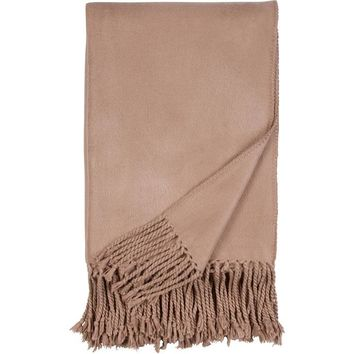 Luxxe Fringe Throw in Sand