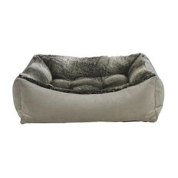 Scoop Bolstered Dog Bed — Pebble + Faux Fur Chinchilla
