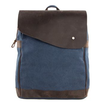 BLUESEBE UNISEX WAXED CANVAS WITH LEATHER BACKPACK 12032-B