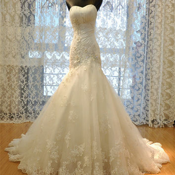 real photo Luxurious Croset Bodice Sexy Lace Mermaid Wedding Dress backless bride gowns custom made for pregnant women plus size