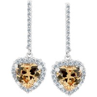 Citrine Cz Heart Women's Dangle Earrings