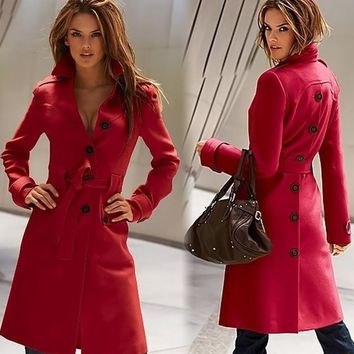 Warm Wool Blend Military Trench Coat