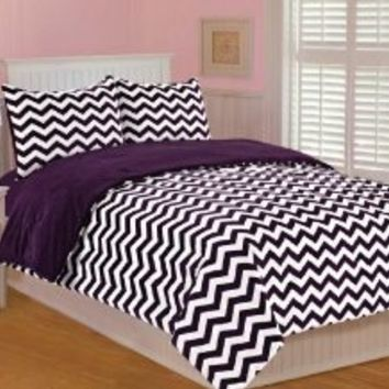 Thro by Marlo Lorenz 5645 Chevron Printed 68 by 86-Inch Microplush Bedding Set, Twin, Plum/Purple/White