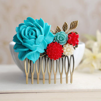 Large Turquoise Blue Rose Red Ivory Flowers Collage Hair Comb. Blue and Red Wedding Bridal Hair Comb, Bridesmaid Gift, Country Cottage