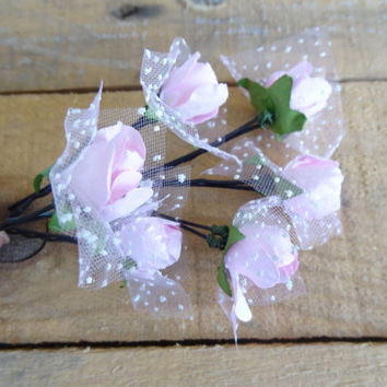Pink Rose Wedding Hair Pins, Ivory Bridal Hair Pins, Hair Accessories, Bridesmaid Hair, Woodland - Set of 6