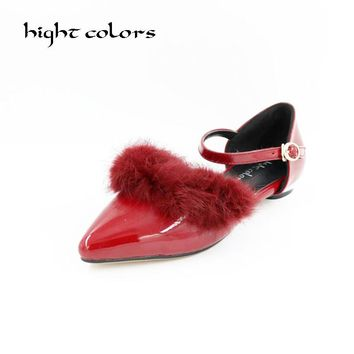 New Sexy Pointed Toe Rabbit Fur Ankle Strap Women's Flat Formal Dress Shoes Moccasins Ballet Flats Plus Size 45 Free Shipping