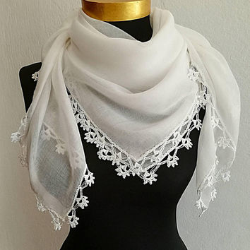 White Oya Scarf with Crochet Lace Edge, Bridal Lace Scarf Cotton White Turkish, Gift for Bride, Summer Scarf, Bridal Accessory