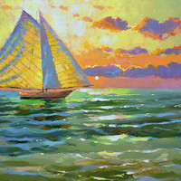 SALE Sea Sunset - Original oil painting on canvas by Dmitry Spiros. Seascape Size: 24 x 32 in (60 x 80 cm)