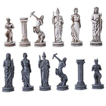 Greek Roman Mythology Chess Set Board and Pieces 3.5H