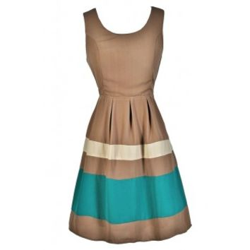 Lily Boutique Colorblock Stripe Dress, Taupe and Turquoise Dress, Cute A-Line Dress, Summer Party Dress, Taupe Dress, Light Brown Dress, Khaki Dress Lily Boutique