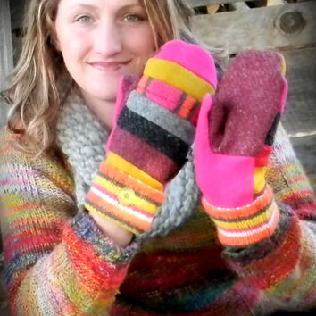 Pink and Mustard Yellow Sweater Mittens, Recycled Mittens, Wool Mittens, Hippie, SweatyMitts, Handmade BOHO Upcycled Gray Purple
