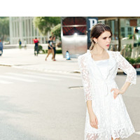 Lace Half Sleeve Belted Pleated A-Line Mini Dress