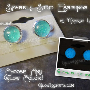 Sparkly Stud Glow Earrings Handmade Glass Silver plated