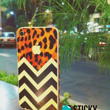 Iphone 5 4/4s Protective Cover-Wild Thing Leopard Chevron - decal sticker