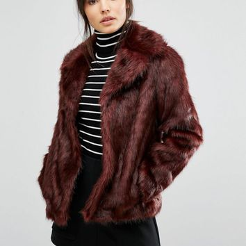 Oasis Boxy Faux Fur Coat at asos.com