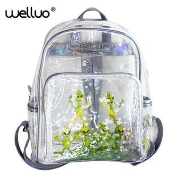 Transparent Laser Backpack Students 2017 New Ultraperspective Harajuku Alien Sequins Star Shoulders Bag ET Rucksack Bags XA69B