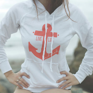 Live Life Anchored Raw Edge Hoodie White/Coral by PrintedPalette