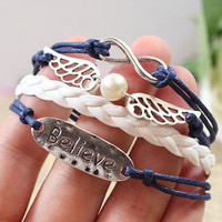 Cute Angel Wing Believe Infinity Bracelet