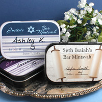 Striped Star of David Personalized Bar Mitzvah Place Setting Mint Tins, Bat Mitzvah, Placecards, Party Favors