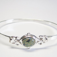 Contemporary Sterling Opal Bangle Bracelet with Latch Clasp