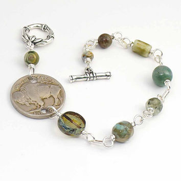 Green coin bracelet, US buffalo nickel jewelry, assorted green beads, silver, 8 inches 20cm