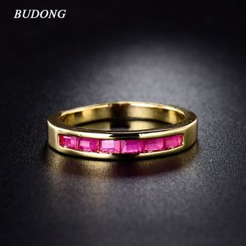 BUDONG 2017 Fashion Gold-Color Infinity Rings for Women Crystal Paved Engagement Rings Rose Red CZ Zircon Wedding Band R082