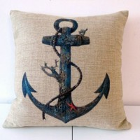 """HOSL Cotton Linen Square Throw Pillow Case Decorative Cushion Cover Pillowcase for Sofa Blue Rusty Anchor with Coral 18 """"X18 """" (1, Square)"""
