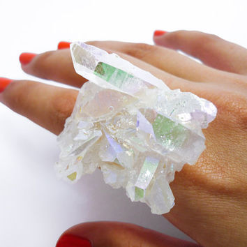 Opal Crystal Angel Quartz Rainbow Aura Crystal Druzy Ring DELICATE SWAN by AstralEYE