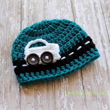 Crocheted Blue Newborn Cap - Baby Beanie - Car - with Buttons - Blue, White, and Black - Baby Boy - Tuque