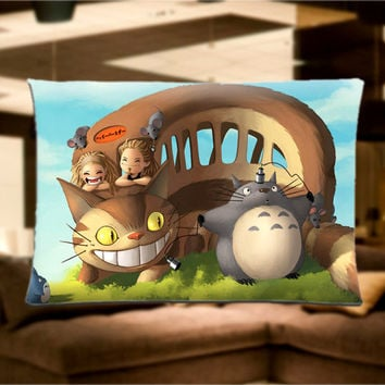 "My Neighbor Totoro and Friends Pillow Case Cover Bedding 30"" x 20"" Great Gift"