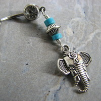 Long Tribal Elephant Belly Button Piercing with Turquoise