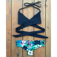 High Waisted Bandage Triangle Bikini Swimsuit
