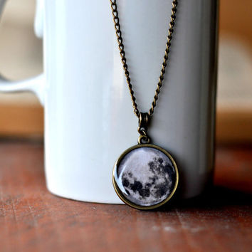 Full Moon Necklace, Resin Pendant, Antiqued Brass Chain Necklace