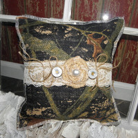 Camo Burlap Ring Bearer Pillow. Camo and Lace with a shot gun shell ends, this will fit your camo wedding perfectly!