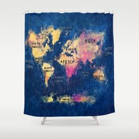 World map watercolor 4 Shower Curtain by Jbjart