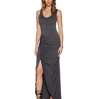 Sleeveless Ruched Bodycon Maxi Slit Dress