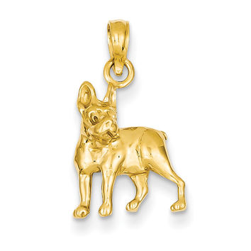 14k Boston Terrier Dog Pendant K3425