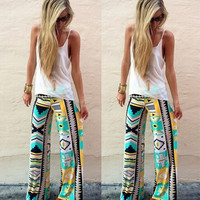 Hot Popular Floral Printed Women Trousers Pants