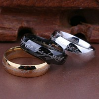 (1 pieces/lot) 100% Titanium Ring Men Wedding band rings woman Lord Rings Classic Engagement Ring Gold Silver Black