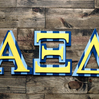 "Wooden 7"" Greek Alpha Xi Delta IttXi Letters. (2 Layers)"