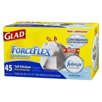 Glad Fresh Clean ForceFlex Odor Shield Tall Drawstring Kitchen Bags 13 Gallons 45 ct