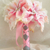 Winter Wedding Bouquet Blush Pink Snow Covered Poinsettia and White Hydrangeas- OOAK